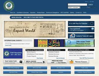 Main page screenshot of tdap.gov.pk