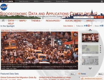 Main page screenshot of sedac.ciesin.org