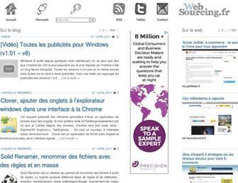 Main page screenshot of blog.websourcing.fr