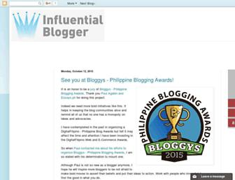 Main page screenshot of influentialblogger.net