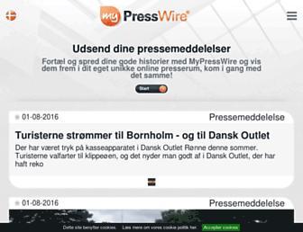 Main page screenshot of presswire.dk