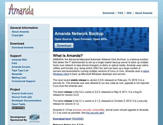 Main page screenshot of amanda.org