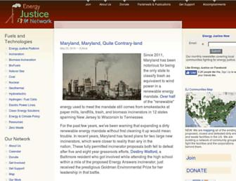 Main page screenshot of energyjustice.net