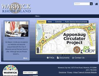 Main page screenshot of warwickri.gov