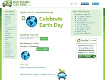 Main page screenshot of recyclingcenters.org