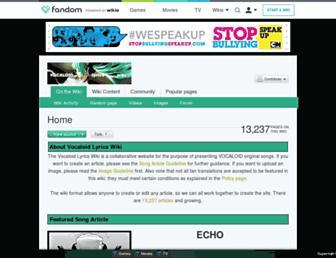 vocaloidlyrics.wikia.com screenshot