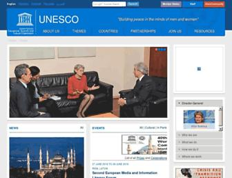 Main page screenshot of unesco.org