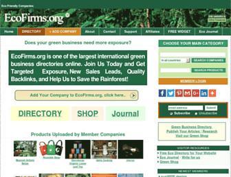 Main page screenshot of ecofirms.org