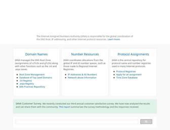 iana.org screenshot