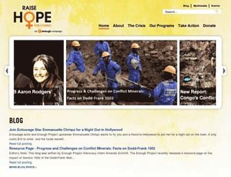 Main page screenshot of raisehopeforcongo.org