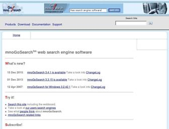 Main page screenshot of mnogosearch.org