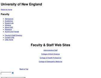 Main page screenshot of faculty.une.edu