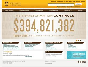 Main page screenshot of umanitoba.ca