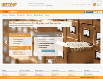 Main page screenshot of wer-zu-wem.de