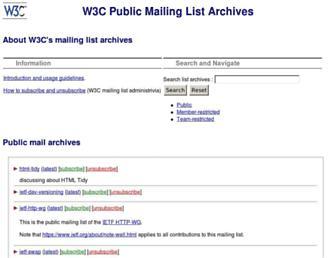 Main page screenshot of lists.w3.org