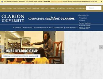 Main page screenshot of clarion.edu
