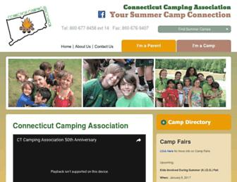 Main page screenshot of ctcamps.org