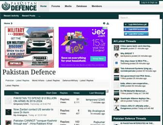 Main page screenshot of defence.pk