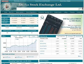 Main page screenshot of dsebd.org