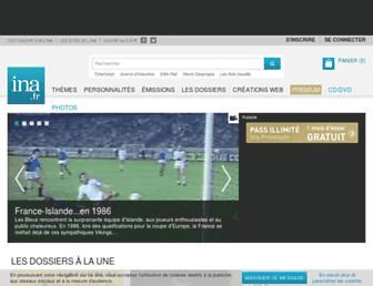 Main page screenshot of ina.fr
