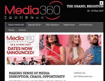 Main page screenshot of media-360.co.uk