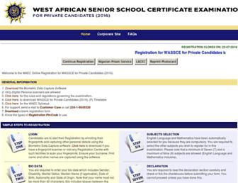 registration.waecdirect.org screenshot