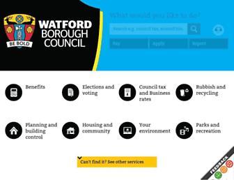 Main page screenshot of watford.gov.uk