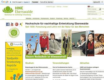 Main page screenshot of hnee.de