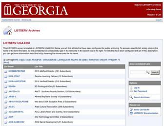 Main page screenshot of listserv.uga.edu