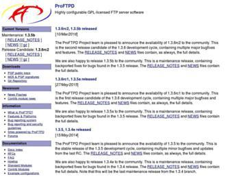 Main page screenshot of proftpd.org
