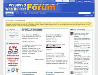 Main page screenshot of wysiwygwebbuilder-forum.de