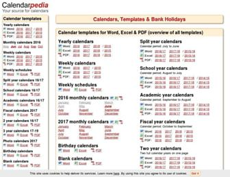 calendarpedia.com screenshot