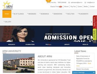 Main page screenshot of arni.in