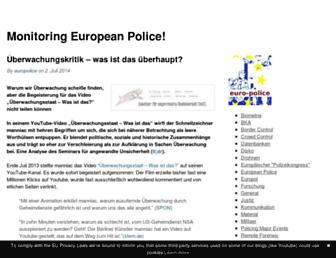 Main page screenshot of euro-police.noblogs.org