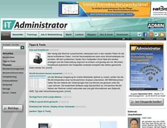 Main page screenshot of it-administrator.de