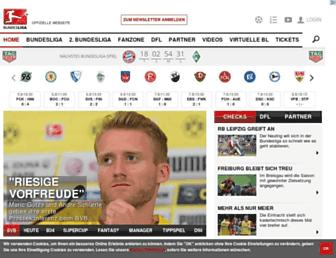 Main page screenshot of bundesliga.de