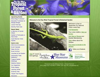 Main page screenshot of keywestbotanicalgarden.org