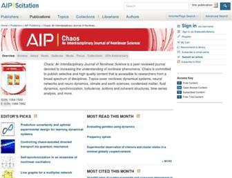 Main page screenshot of chaos.aip.org
