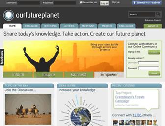 Main page screenshot of ourfutureplanet.org