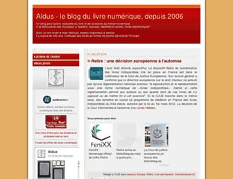 Main page screenshot of aldus2006.typepad.fr