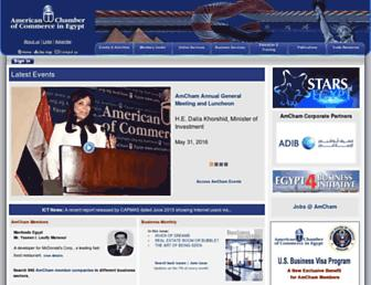 Main page screenshot of amcham.org.eg