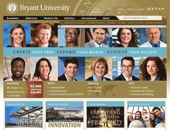 Main page screenshot of bryant.edu
