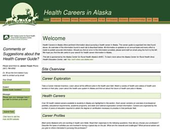 Main page screenshot of healthcareersinalaska.info