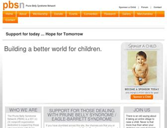 Main page screenshot of prunebelly.org