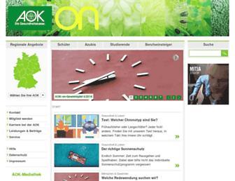 Main page screenshot of aok-on.de