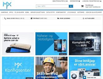 Main page screenshot of mpx.no