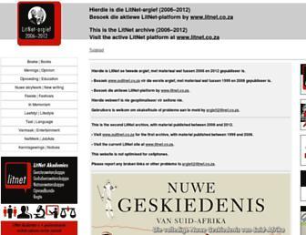 Main page screenshot of argief.litnet.co.za