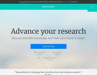 Main page screenshot of researchgate.net