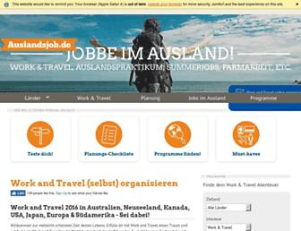 Main page screenshot of auslandsjob.de