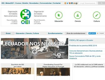 Main page screenshot of oei.es